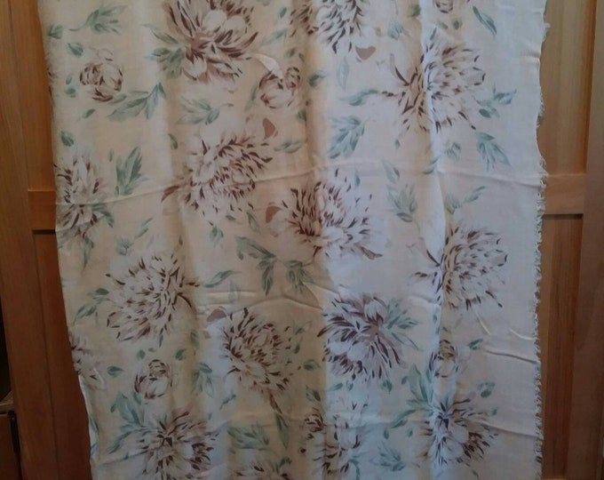 Vintage ECHO large square scarf. Soft silk blend pale pink with chrysanthemums
