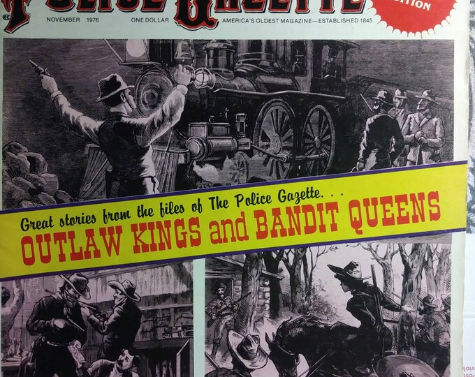 Vintage Police Gazette Magazine 1970s. Stories reprinted from the late 1800s. November Issue Outlaws and bandits.
