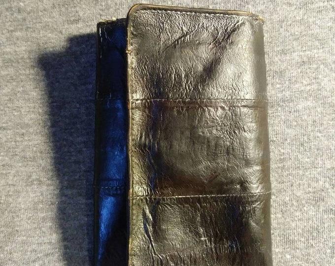 Vintage Eel skin tri fold key case brown with change holder and business card holder 80s
