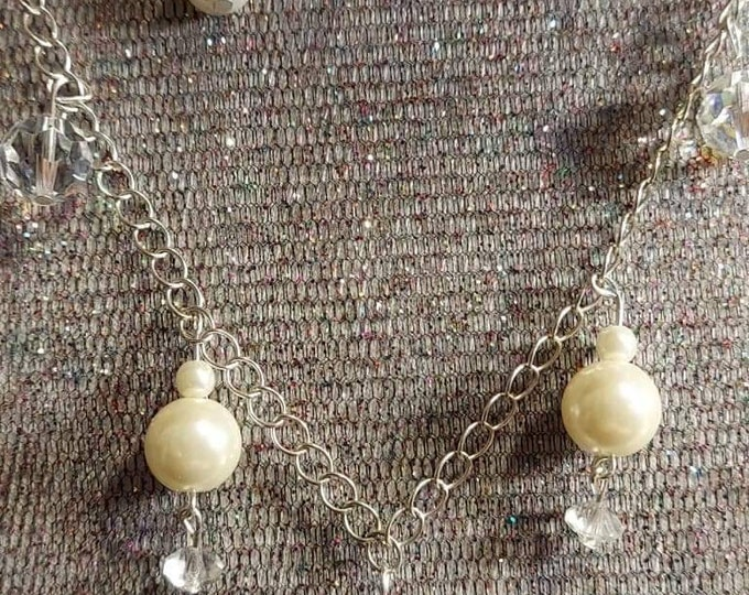 Bride jewelry pearl and crystal delicate sparkle somthing old, new and blue Mixed Vintageables design Heather Hutcheson one of a kind.