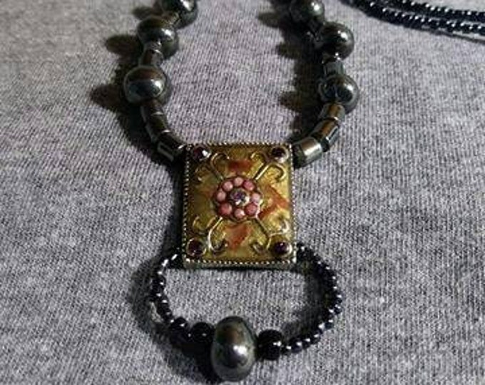 Vintage Jewelry Midnight Dreams, Hematite beads with a cloisonné pendent.  Mixed Vintageables by Heather Hutcheson