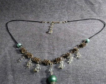 Necklace one of a kind Crystal Sea Dreams. Design created from bits and pieces of vintage jewelry. Artist Heather Hutcheson