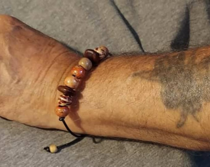 Wooden beads and African dream seeds good fortune bracelet for men original one of a kind Artist Heather Hutcheson
