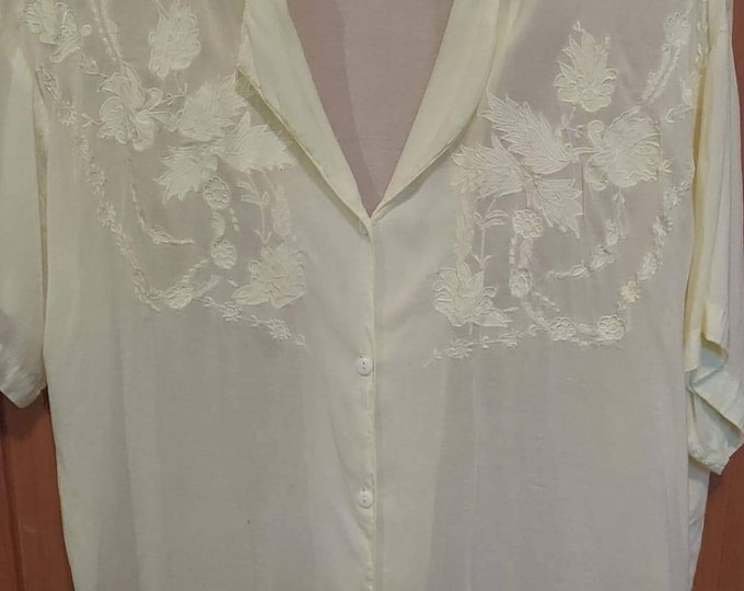 Sheer womans Blouse  XL Passport by Pier One pale ivory silky blouse 80s