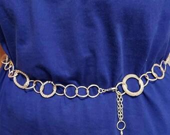 Belt sivertone hippie boho waist jewelry 80s