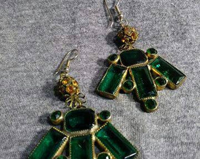 Vintage Emerald glass jewels.  With a touch of topaz.  Mixed Vintageables by Artist Heather Hutcheson.  The Queen's Stash. One of a kind