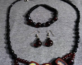 Religious theme Jewelry. Vintage Jewelry  Mary's Heart of Hearts. Mixed Vintageables by Artist Heather Hutcheson