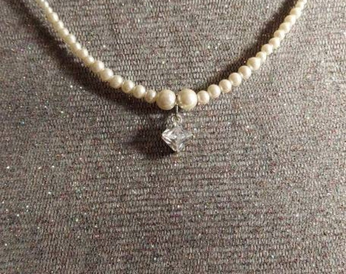 Petite pearl necklace with a dazzeling square zirconia perfect for Brides one of a kind design by Artist Heather Hutcheson old blue new
