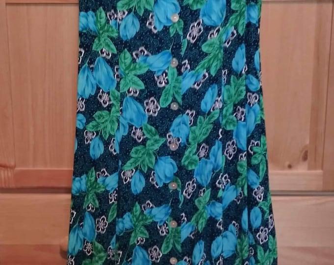 Vintage dress 90s. Vibrant Betsy Lauren dress bold floral design.