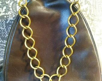 Brown leather handbag chain handle unusual clasp unique vintage 1950s