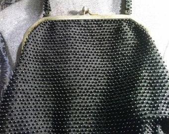 Simple black  beaded bag. 60s