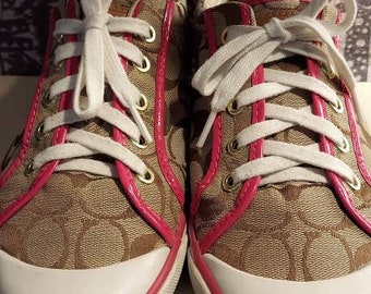 Coach athletic shoes for women signature khaki brown with pink patten leather trim  9.5 style barrett 90s
