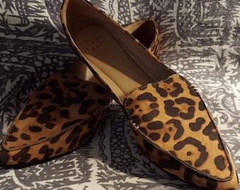 Leopard pointy toe flats wild animal print