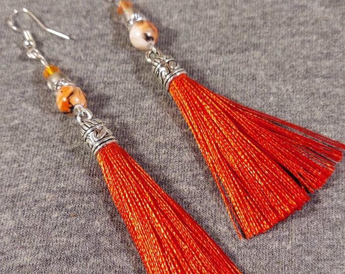 Original earrings orange tassel fun artist H Hutcheson