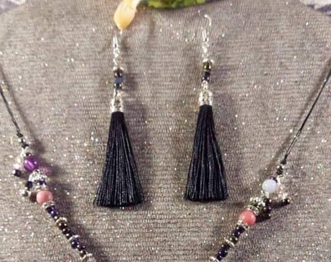Amethyst crystal polished with tassle earrings original one of a kind design Artist H Hutcheson