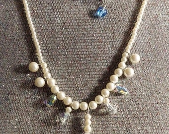 Pearl and crystal Bride necklace and earrings set one of a kind design by Artist Heather Hutcheson mixed vintageables