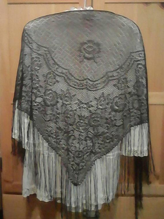 Fringe shawl fishnet 70s