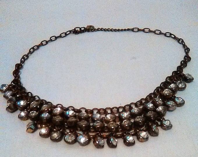 Bib necklace vintage tiered rhinestones necklace lots of style and bling 80s