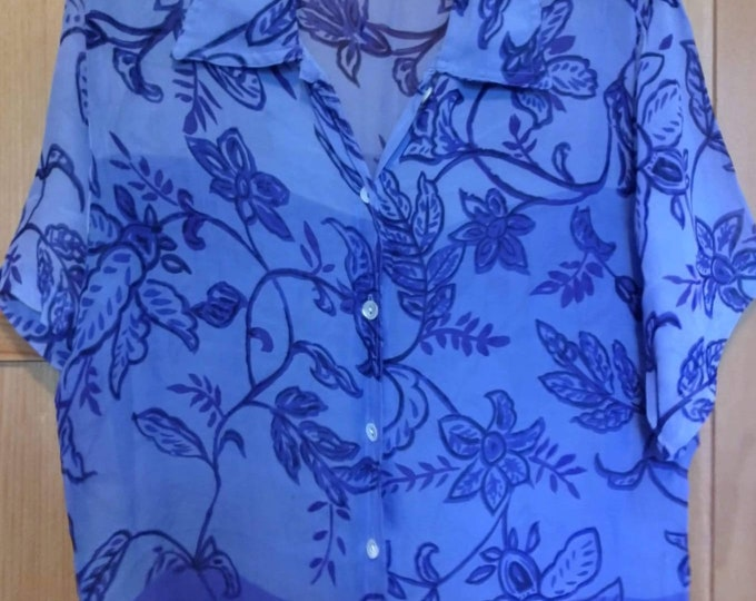 Vintage blouse 90s four shades of sheer blue.