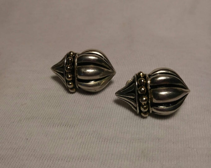 Pewter earrings St Justin Cornwall pewter clip on earrings Acorn design 1960s