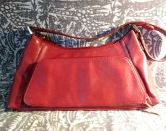 Faux Red Leather shoulder bag.  Compartments galore. 80s