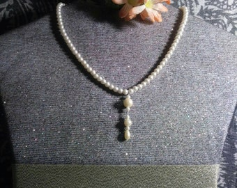 Brides single strand pearls with pendent something old new and blue refurbished vintage mixed vintageables by artist Heather Hutcheson