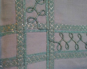 Vintage linen table cloth light aqua with sewn on ribbon braided chord with golden threads 60s