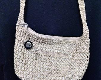 The Sak small hobo shoulder bag, beige sparkle. 1990s
