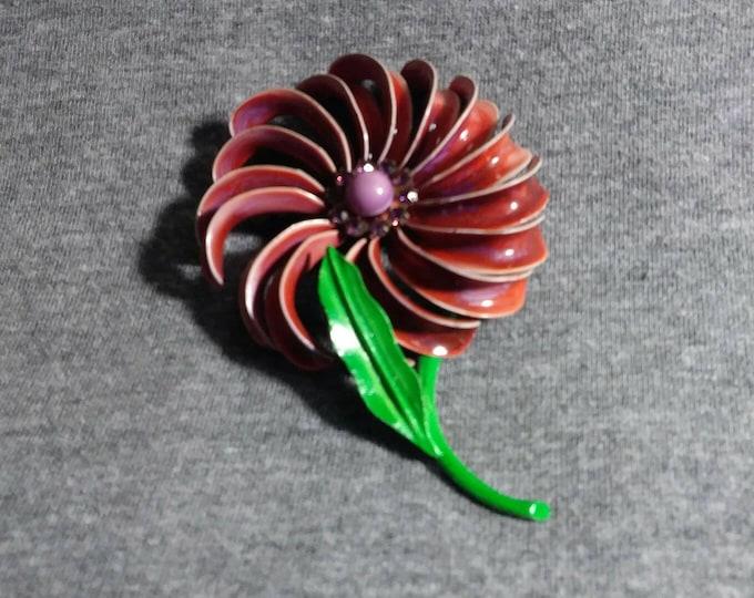 Enamel metal flower brooch with faux amethysts 70s