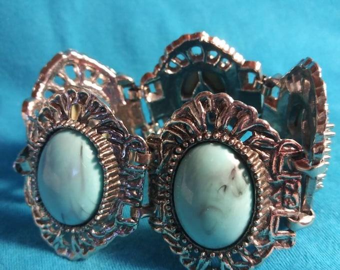 Turquoise cuff bracelet vintage 80s