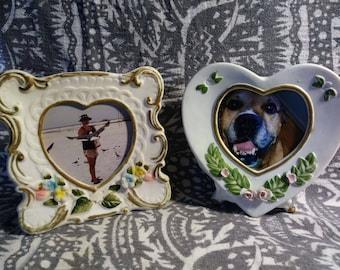 Royal Crown Vintage bisque porcelain decorative picture frames. knick knack table frames 60s.