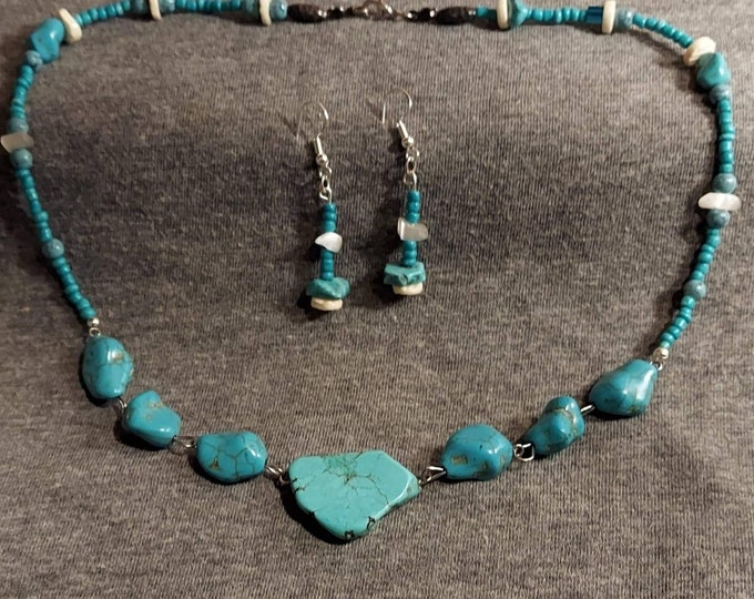 Turquoise necklace set with earrings.  One of a kind original design by artist Heather Hutcheson Mixed Vintageables wearable art