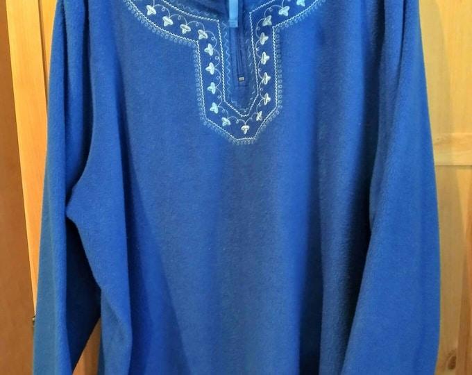 Blue sweatshirt zippered collar nice design around neck line. Vintage 90s