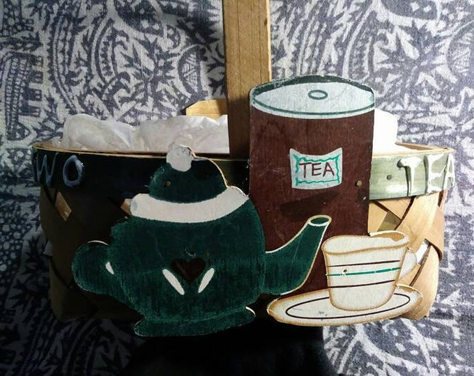 Basket for Tea Time and it is Tea For Two.  Kitchen whimsy with this basket. 90s