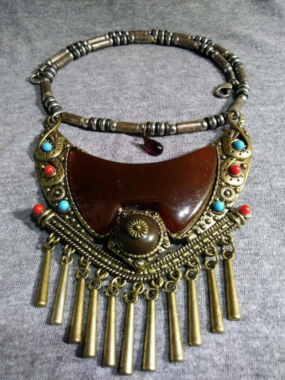 Redesigned By Artist Heather Hutcheson refurbished bits and pieces of vintage jewelry Vintage amulet necklace