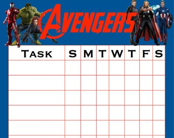 Avengers Chore Chart Printable Instant Download