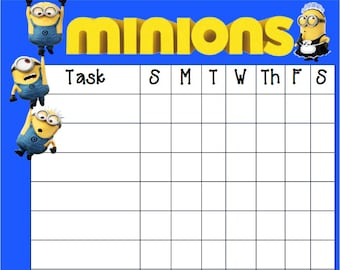 Minions Chore Chart Printable Instant Download