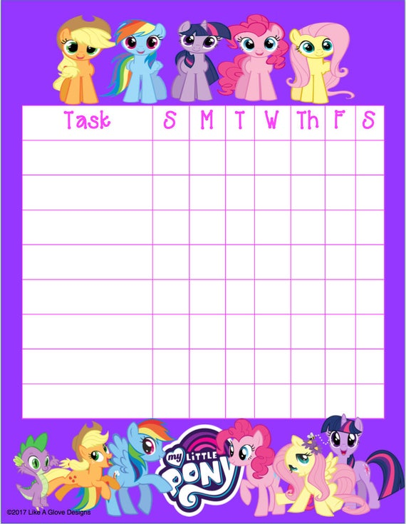 My little pony mlp kids chore chart printable instant download etsy