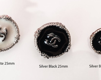 "Silver Black Buttons Custom Shirt BeadMetal Luxury OverCoat Sewing DIY 0.79""~1"" (20mm-25mm)- c4"
