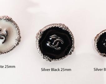 "Silver Black Buttons Custom Shirt BeadMetal Luxury OverCoat Sewing DIY 0.79""~1"" (20mm-25mm)- c4"