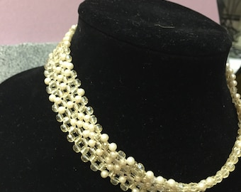 Beaded Champage Necklace and Headband
