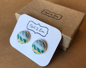 Fabric Button Earrings / Green Strips