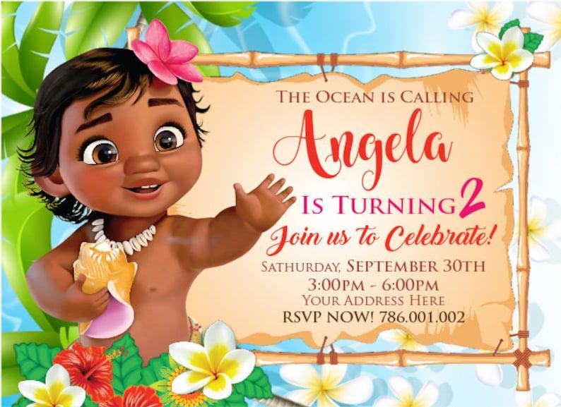 Custom Invitation Little Moana image 0