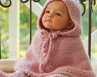 Baby Poncho Hooded Poncho Wool poncho Baby shower baby gift winter girl poncho boy poncho blue pink green grey wool MANY COLORS Drops Lilith