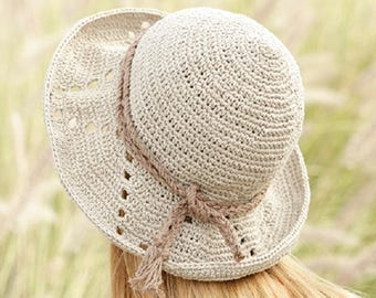 Summer hat crochet hat linen hat handknitted hat cotton hat country hat women hat summer fashion Drops Lilith