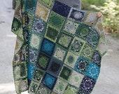 Afghan blanket Patchwork style Rainbow blanket Crochet blanket throw knitted blanket square Afghan rug wool rug blue green superwash Lilith