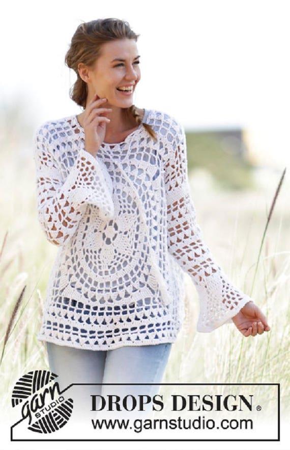 Crochet Tunic Crochet Top Long Sleeves Top Boho Tunic Crochet Etsy