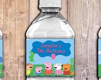 PEPPA PIG bottle LABELS,Peppa Pig Birthday Party decoration ideas,Peppa Pig Bottle labels,Personalized Peppa Pig Party decoration printables