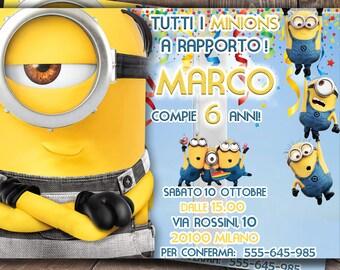 INVITO personalizzato CATTIVISSIMO ME 3,invito di compleanno Minions,festa di compleanno dei Minions,Birthday invitation,invito digitale