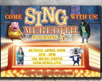 SING BIRTHDAY INVITATION,Sing Movie invite,personalized printable birthday invitations,birthday party invites,Sing digital card download diy